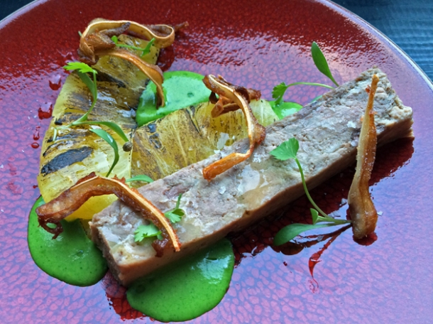 pork cheek, pineapple and coriander at sixty four degrees london