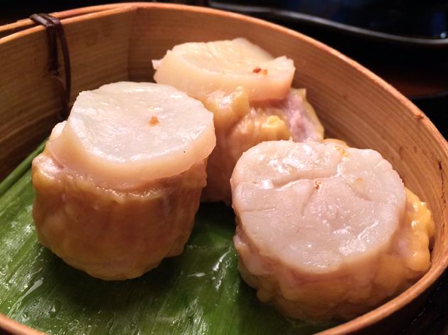 pork, prawn and scallop shu mai at crazy bear