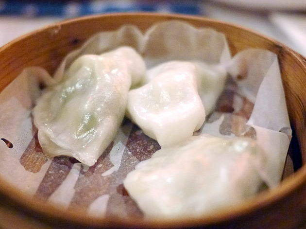 prawn and chive dumplings at drunken monkey