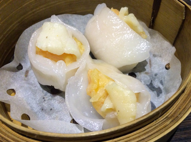 prawn and scallop dumplings at suki