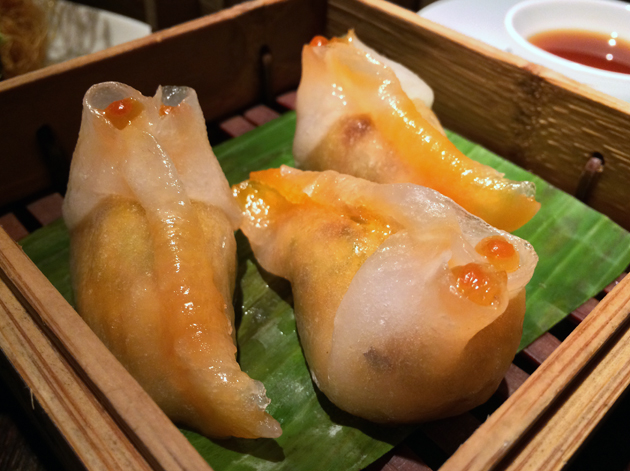 prawn and white fungus dumplings at plum valley