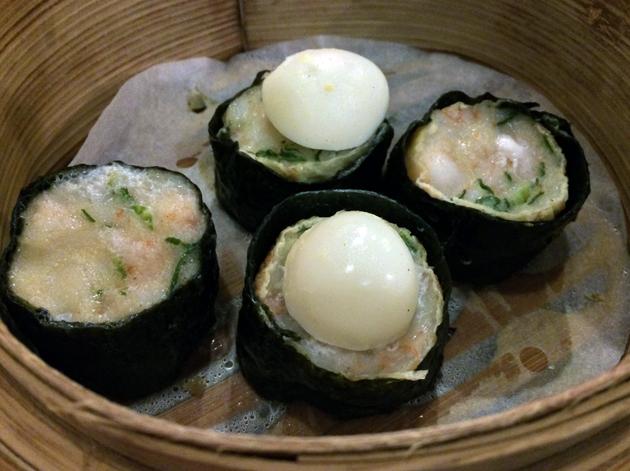 quail egg and seafood siu mai at shanghai dalston
