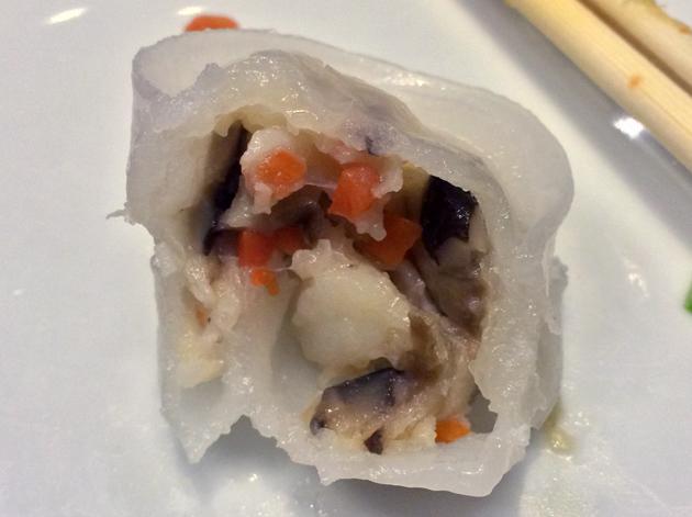 scallop and shiitake dumpling filling at ping pong