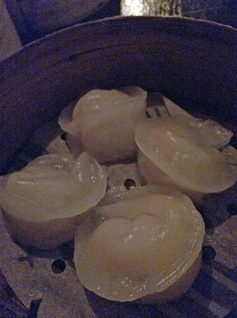 scallop dumplings at opium