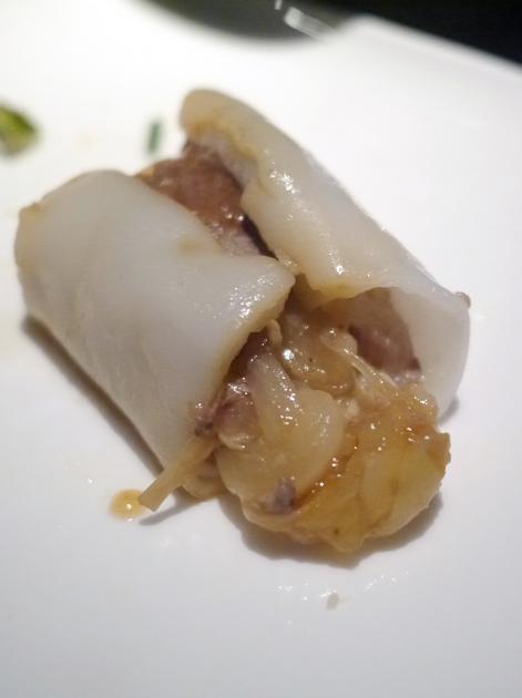 slice of beef and enoki cheung fun at yauatcha