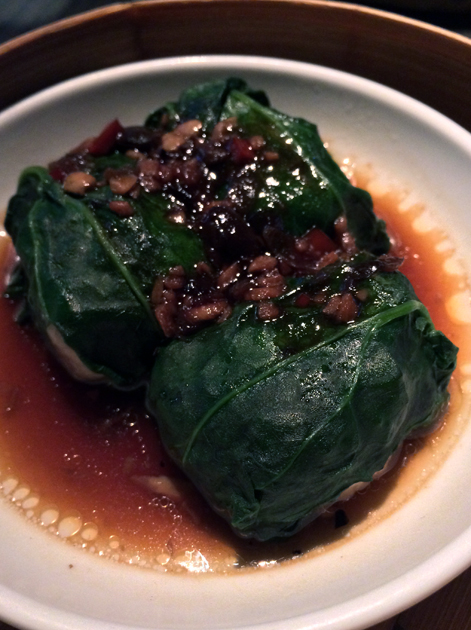 spinach ball with prawn and cuttlefish at yauatcha