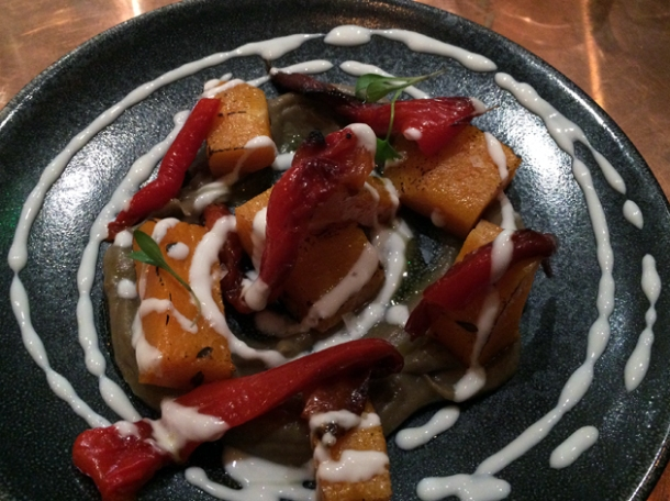 squash, peppers and aubergine at sixty four degrees london