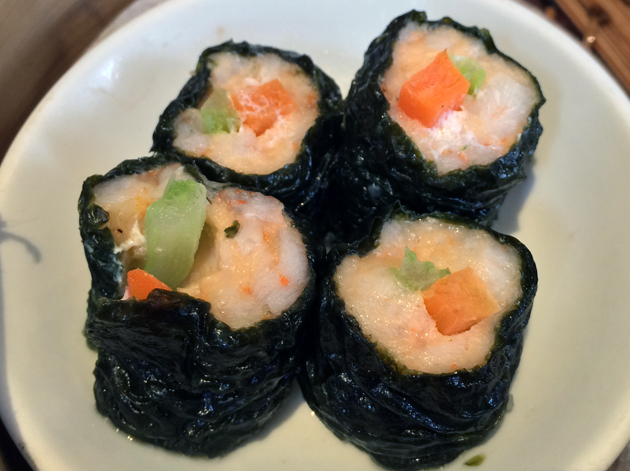 steamed prawn sushi rolls at bento ramen