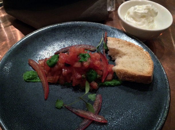 tomato, oil and bread at sixty four degrees london