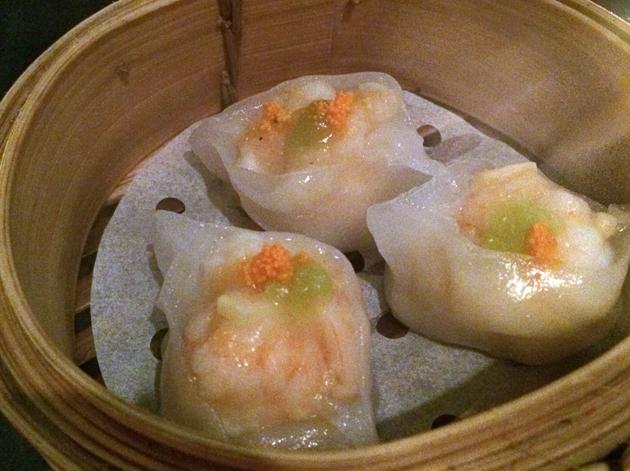 wasabi king prawn dumplings at courtesan