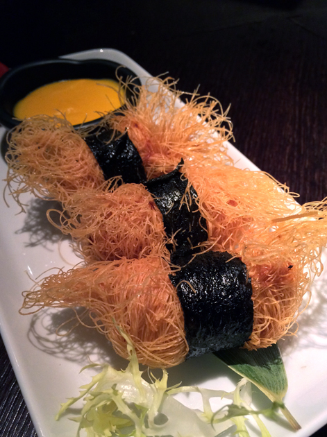 fried whisker black cod rolls at plum valley