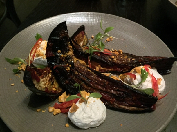 aubergine with peanuts and coconut yoghurt at tredwells
