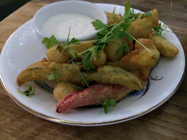 deep fried pickles at bobo social