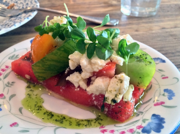 watermelon and tomato salad at bobo social