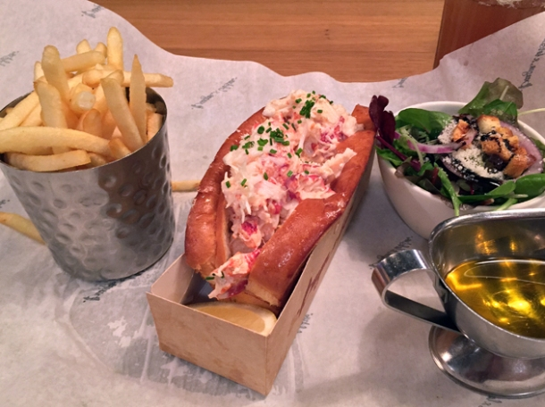 lobster roll, fries and salad from burger and lobster oxford circus