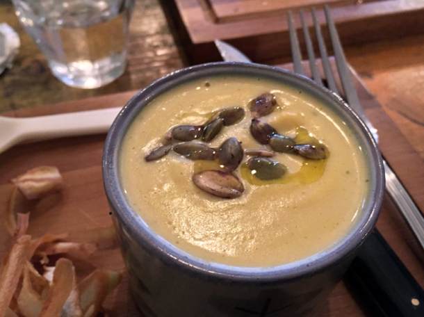 pumpkin soup at wild game co