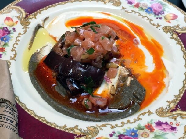 salmon tartare with aubergine at the palomar