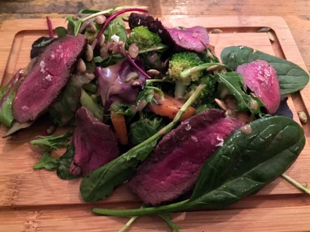 venison steak salad at wild game co