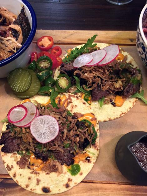 beef short rib tacos at hotbox