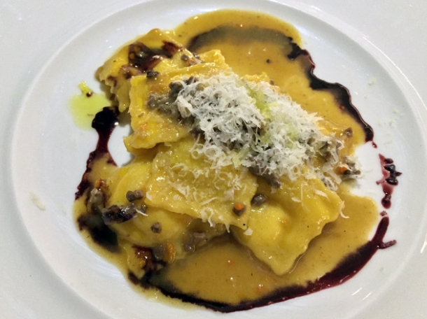 duck ragout ravioli at all'oro rome