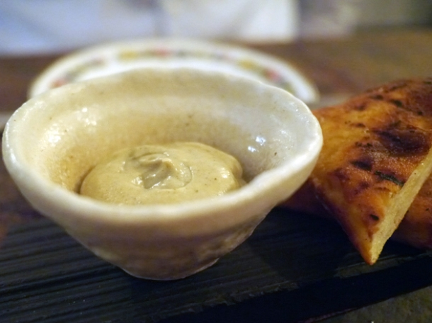 fermented potato flatbread with smoked aubergine and mint at the manor clapham