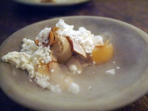liquid nitrogen artichoke ice cream with smashed craime fraiche and poached quince at the manor clapham