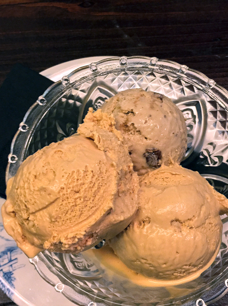 salted caramel and christmas pudding ice cream at hotbox