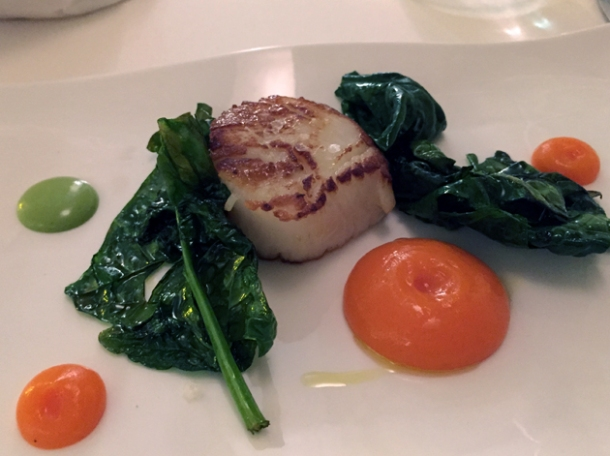 scallop with carrots, ginger and spinach at antico arco