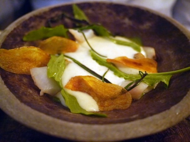 smoked pollock with cream, crisps and sorrel at the manor clapham