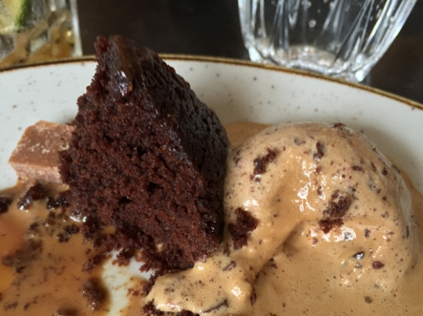 steamed chocolate and toffee sponge at le chalet