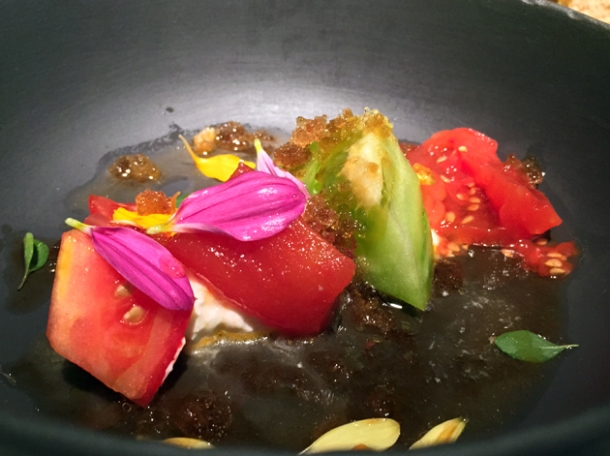 tomato and burrata salad with cardamom spray at pipero al rex