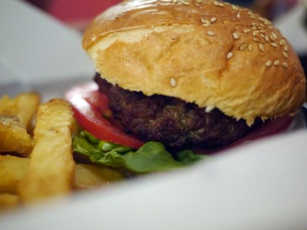 burger at ruby jean's diner at the royal george