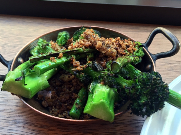purple sprouting broccoli with anchovy at portland