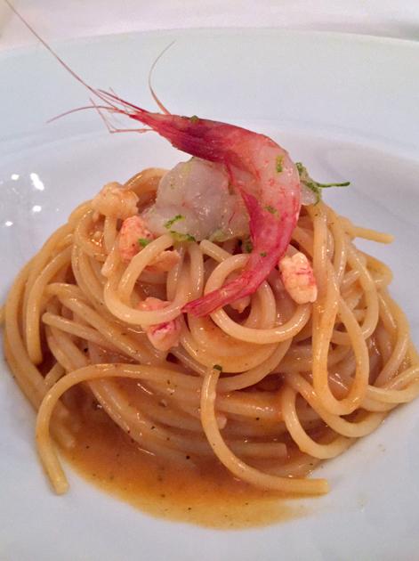 red prawns with spaghetti at al ceppo roma