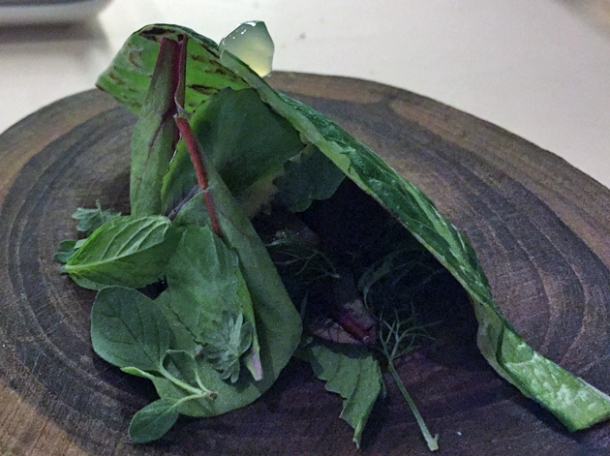 tuna with bitter herbs and mint wrapped in leaf at metamorfosi
