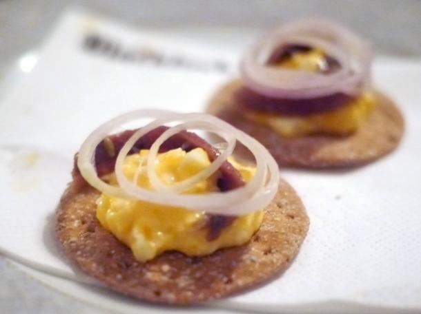 anchovy and egg crackers at blacklock