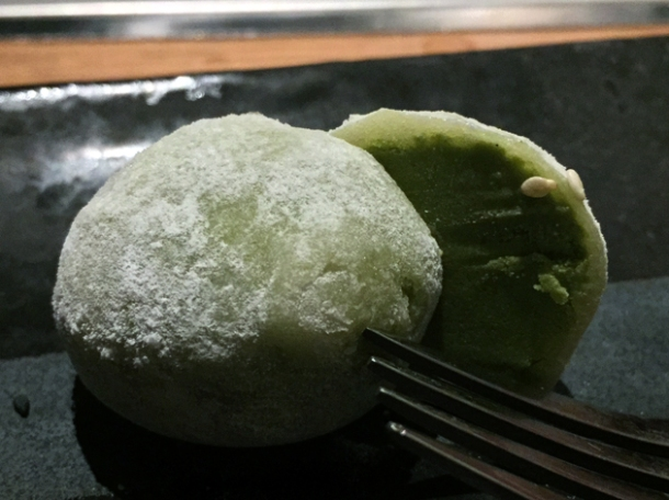 green tea mochi ice cream at kintan