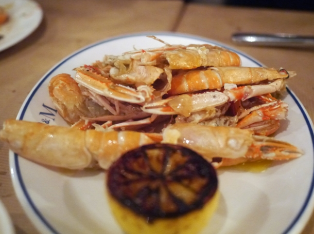 hot langoustines at rex and mariano