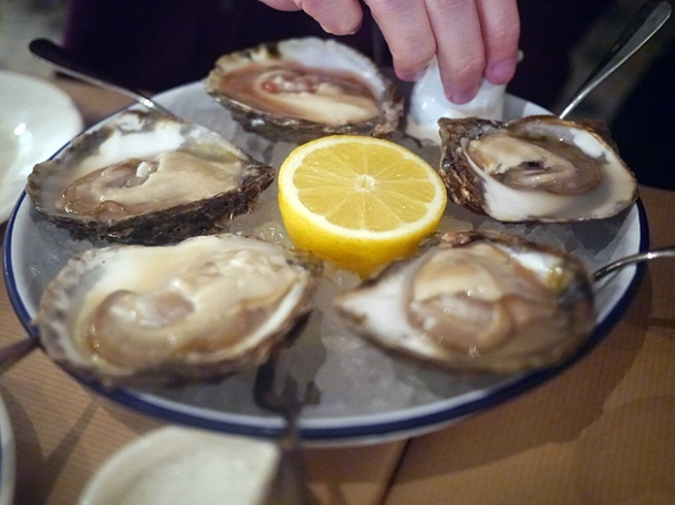 scottish native oysters at rex and mariano