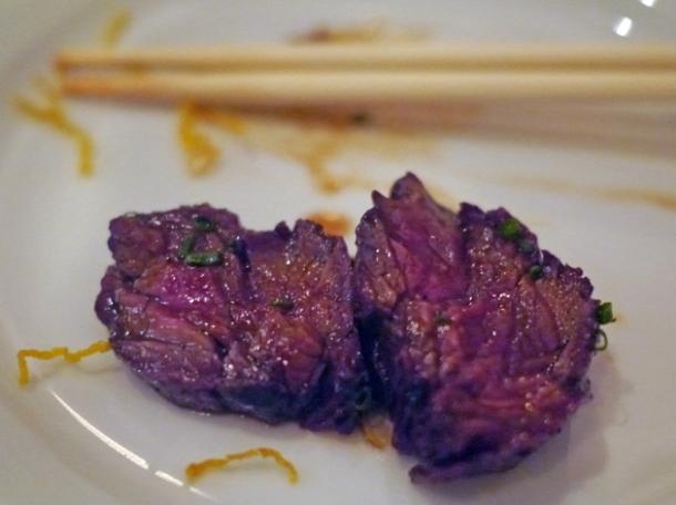 slices of onglet steak at bo drake