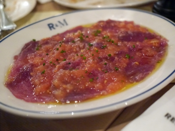 tuna carpaccio at rex and mariano