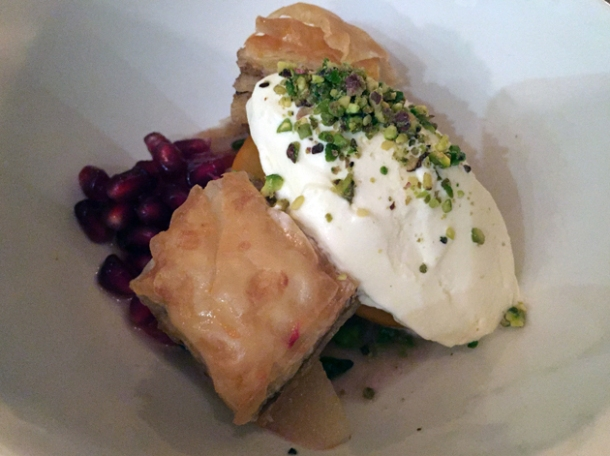 walnut and pistachio baklava, persimmon and pomegrante, yoghurt and rosewater icecream at peckham bazaar