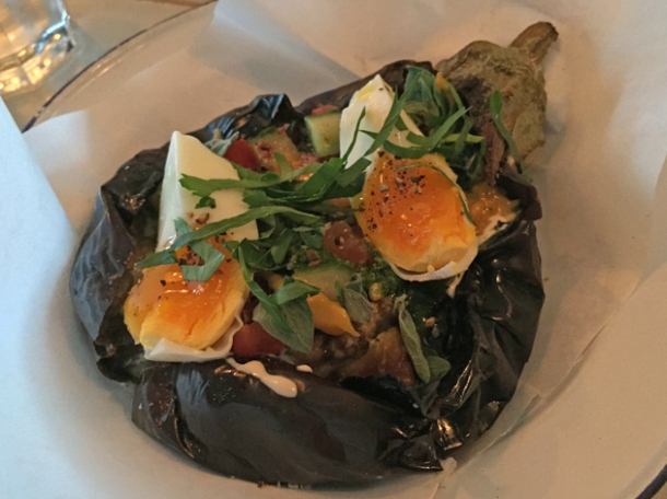 aubergine with egg, tomatoes and cucumbers at berber & q