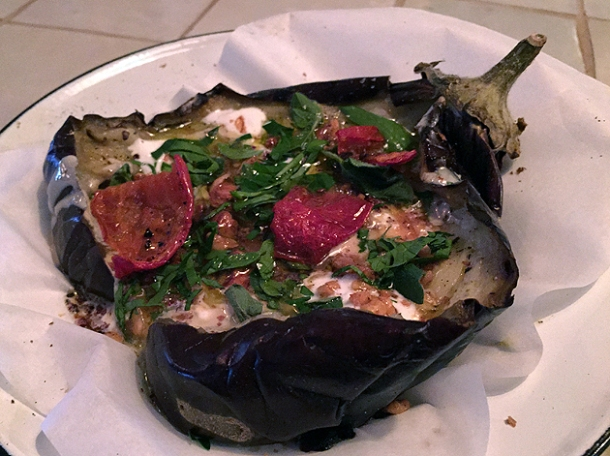 aubergine, yoghurt and walnut salad at berber and q