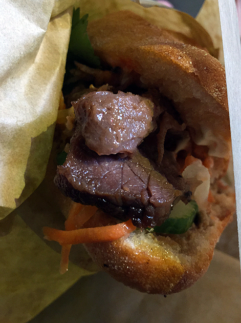 beef brisket banh mi at whaam