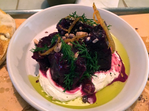 beetroot with whipped feta and candied orange at berber & q