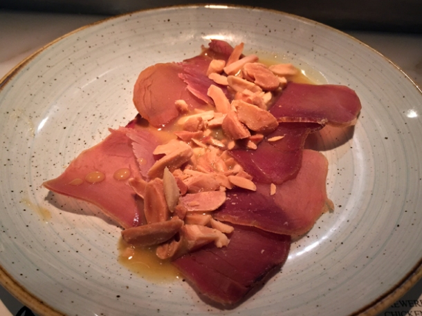 cured tuna and almonds at morada brindisa asador