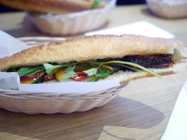 grilled pork banh mi at bun cha hoxton