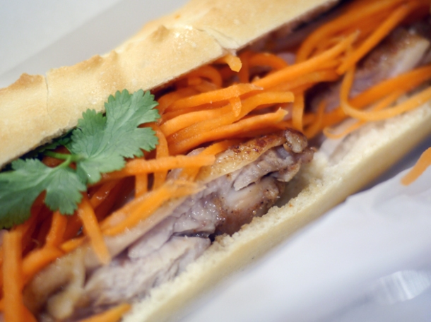 grilled pork banh mi at viet baguette