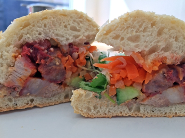 honey caramelised pork banh mi at carrots and daikon